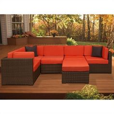 International Home Miami Atlantic 6 Piece Patio Sectional Set ($2,333) ❤ liked on Polyvore featuring home, outdoors, patio furniture, chocolate, chocolate brown sectional, dark brown sectional, home theater sectional, faux wicker patio furniture and chocolate sectional