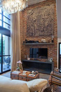 Linha: Tijolo Inglês Landscape, Tv, Architecture, Home Decor, Brick, Line, Arquitetura, Ideas, Interiors