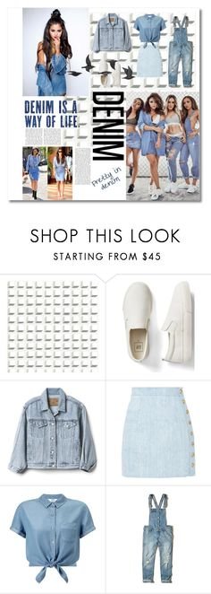 """""""Denim Love♥️"""" by ebby13 ❤ liked on Polyvore featuring Cole & Son, Gap, Balmain, Miss Selfridge, Hollister Co. and Jayson Home"""