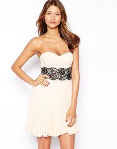 Elise Ryan Bandeau Dress With Scallop Lace Waist