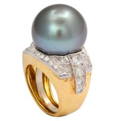 DAVID WEBB South Sea Cultured Pearl & Diamond Hammered 18K Gold and Platinum Ring, ca. 1970s