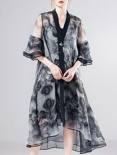 #AdoreWe #StyleWe Pokwai Black Printed V Neck Swing Frill Sleeve Silk Midi Dress - AdoreWe.com
