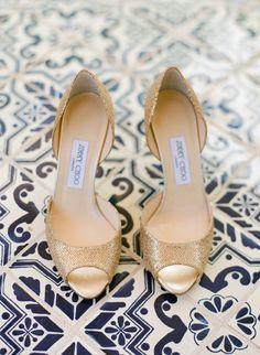 So pretty: the Jimmy Choo glittery gold peep-toe
