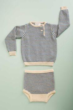 Cashmere Stripe Button Placket - Flora & Henri - $120