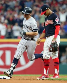 Indians 9, Yankees 8: Winners and losers from ALDS Game 2 - October 6, 2017. New York Yankees' Greg Bird (33) rounds the bases after his two-run homer in the top of the 5th inning, Friday, October 6, 2017. Cleveland Indians' SS Francisco Lindor (12) is seen right. (Chuck Crow / The Plain Dealer)