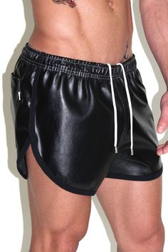 ea0f84da7c60e Vegan Running Leather Shorts-Black