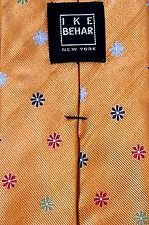 "IKE BEHAR New York MENS TIE 100% Silk DIAGONAL FLORAL FLOWERS 59"" Gold Red Green"