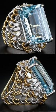 28 carat emerald-cut aquamarine and diamond cocktail ring in two-tone gold, circa 1960s-1980s. Via Diamonds in the Library. by bridgette.jons