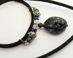Snowflake Obsidian Tumbled Stone Necklace - Birthday, Anniversary, Christmas…