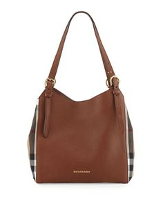 BURBERRY Canterby Small Check Shoulder Bag, Tan. #burberry #bags #shoulder bags #hand bags #canvas #leather #lining