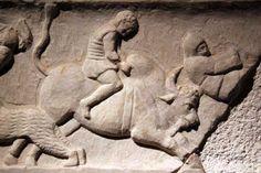Germiyan frieze : bestiarius and bull- Arcehological museum of Istanbul-part1
