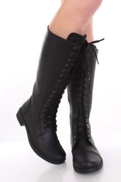 Black Faux Leather Lace Up Tie Front Closed Toe Flat Knee High Boots (Ramona Flowers) Wide Calf Boots, Knee High Boots, Black Faux Leather, Leather And Lace, Moto Boots, Shoe Boots, Sexy Party Dress, Party Dresses, Kinds Of Shoes