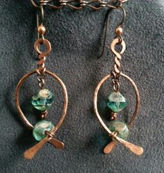 Copper Earrings and Pendant Set with Czech by ColleensConundrums
