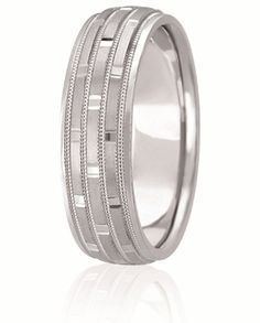 Triple Row Diamond Cut Rectangular Sectional Wedding Band With Milgrain Inlay And High Polished Edges For Men & Women Available In Various Finishes In Your Choice Of & White, Yellow, Rose & Two Tone Gold, Platinum & Palladium Best Diamond, Diamond Cuts, Diamond Wedding Bands, Wedding Rings, When I Get Married, Eternity Bands, Classic Style, Gold Platinum, Fancy