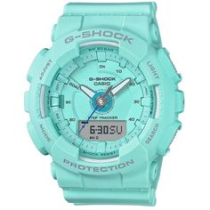 Casio G-Shock S-Series Aqua Active Step Tracker Watch ($130) ❤ liked on Polyvore featuring jewelry, watches, aqua watches, casio, casio wrist watch, casio watches and aqua jewelry