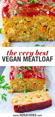 """An easy recipe for the best vegan meatloaf, made with a base of chickpeas. An easy recipe for the best vegan meatloaf, made with a base of chickpeas. This """"meatloaf"""" isn't mushy and is beautiful for serving! Fun Easy Recipes, Whole Food Recipes, Easy Meals, Cooking Recipes, Recipes Dinner, Easy Meatloaf, Meatloaf Recipes, Turkey Meatloaf, Vegetarian Meatloaf"""