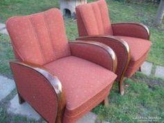 2 db Art deco teli karfás  fotel szép huzattal