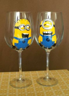 Set of 2 Despicable Me Minions Hand Painted Wine by JordanFeesArt, $50.00