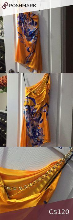 Marciano orange/blue satin one shldr dress sz s Worn once. One shoulder. Marciano Dresses One Shoulder Orange Color, Colour, Vacation Dresses, Plus Fashion, Fashion Tips, Fashion Trends, Blue Satin, Dress Summer, Dress First