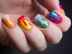 Paint dripped nails...love the way these look. Anyone wanna come over and do my nails like this? ;o)
