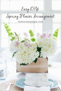 Easy DIY spring flower arrangement made with grocery store flowers hydrangea! Great for Easter tablescapes and spring decor! via /homeicreate/ Yellow Flower Arrangements, Beautiful Flower Arrangements, Wedding Arrangements, Table Arrangements, Yellow Flowers, Beautiful Flowers, The Snow, Sisal, Popular Flowers