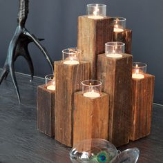 Repurposed timber candelabra Habitat For Humanity ReStore idea Diy Candles, Tea Light Candles, Tea Lights, Beeswax Candles, Candle Wax, Into The Woods, Olive And Cocoa, Bois Diy, Wood Candle Holders