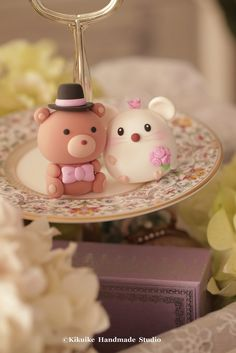 Love bear & mice wedding cake topper