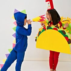 Find out how to make these easy no-sew dragon and taco costume inspired by the children's book Dragons Love Tacos.