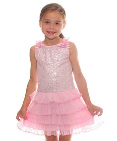 Love this Pink Sequin Ruffle Dress - Girls by Happy Mermaid on #zulily! #zulilyfinds