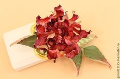"""Купить Брошь роза """" Катерина"""" из натурального шелка. - ярко-красный, красная роза"""