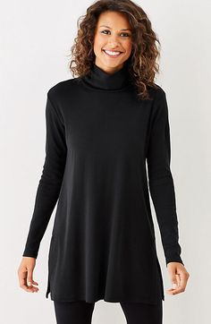 459 J Jill-perfect pima side-vent turtleneck tunic