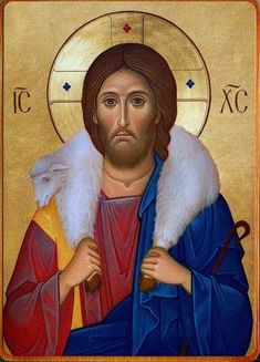 Jesus the Good Shepherd Byzantine Icons, Byzantine Art, Religious Images, Religious Art, Orthodox Catholic, Christ Pantocrator, Roman Church, Sign Of The Cross, Christ The King