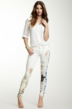 MOTHER Denim The Looker Colorblock Printed Skinny Jean by Non Specific on @HauteLook