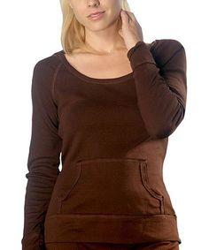 Brown Scoop Neck Pullover