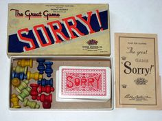 Vintage Game Pieces  Sorry Cards and Wooden Game by paintedpony99, $12.00