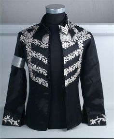 NEW!!MICHAEL JACKSON THIS IS IT BLACK EMBROIDERED SHIRT!!