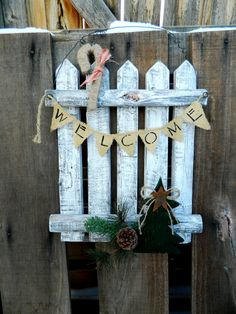 Christmas Holiday Winter Rustic Picket Fence Door Hanger Welcome Home Decor… 3d Christmas, Christmas Decorations, Holiday Decor, Wall Decorations, Fall Decor, Xmas, Christmas Ornaments, Decor Crafts, Wood Crafts