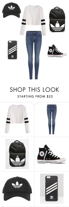 """ADIDAS"" by jwxma on Polyvore featuring 7 For All Mankind, adidas, Converse and Topshop"