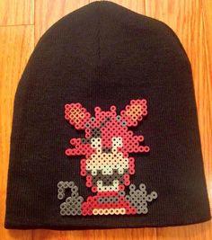 8cbc0e850aa Foxy Five Nights at Freddy s glow in the dark comic emblem hand made craft  art perler bead beanie hat cap toboggan men s woman s kids