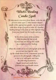 Healing Candle Spell - Pinned by The Mystic's Emporium on Etsy