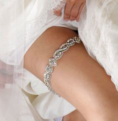 Bridal Garter Wedding Garter with Crystals Made by AlisaBrides, $50.00