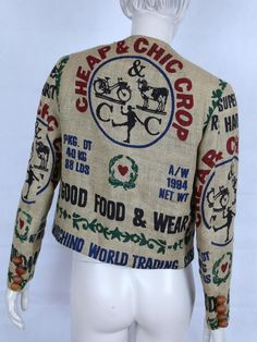 Moschino iconic short length jacket from Fall-Winter 1994 Collection made of a printed pure jute material.Back