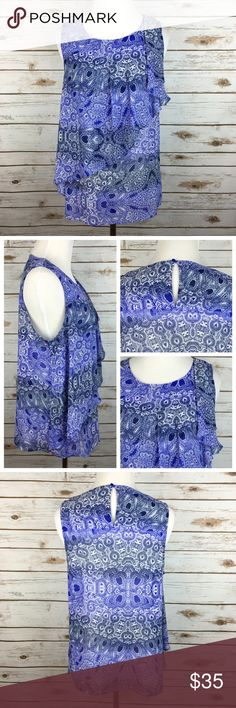 """[Anthropologie] Sungarden Tank Paisley Boho Ruffle Pretty paisley tank by HD in Paris from Anthropologie. Lightweight, silky, and flowy. Keyhole at nape. Ruffle detailing.  Fabric: Polyester  Bust: 19"""" Length: 24"""" Condition: EUC. No flaws.  No Trades! Anthropologie Tops Blouses"""