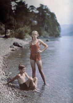 Eva And Heinz On The Shore Of Lake Lucerne, Switzerland, C. 1927 by Friedrich Adolf Paneth