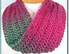 Infinity Scarf knitting pattern. Easy 'one row lace' project for beginner knitters. Immediate download PDF.