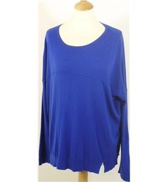 Whistles Approx Size L-XL Electric Blue Sporty Cashmere Mix Box Silhouette Sweater | Oxfam GB | Shop