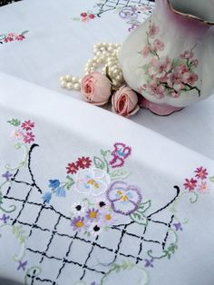 Small Tablecloth with embroidered pansies by mailordervintage