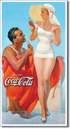Coca Cola Coke Man Women Beach Ocean Bottle House Vintage Picture Metal Ad Sign | eBay