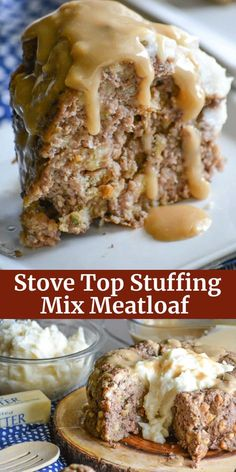 meatloaf recipes An easy meatloaf with a simple ingredient list, this Stove Top Stuffing Mix Meatloaf is the perfect dinner for busy nights. Served with creamy mashed potatoes and rich gravy, your family will never guess your secret to such a cozy meal. Meatloaf With Gravy, Stove Top Meatloaf, Easy Meatloaf, Meatloaf Recipes, Meat Recipes, Gourmet Recipes, Cooking Recipes, Meatloaf With Stuffing Mix Recipe, Stove Top Steak