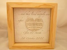 """Personalized Love Quote Photo Frames with Paper Heart. Personalised love quote frame, 6x6"""" boxed frame with a paper heart shape and wording of your choice. Shapes made from recycled books, you may choose your own colour scheme to suit your taste and requirements."""